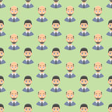 Hair loss stages man seamless pattern and types of baldness illustrated on male head. Stock Photo