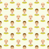 Hair loss stages man seamless pattern and types of baldness illustrated on male head. Stock Photography