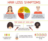 Hair loss symptoms infographics Stock Image