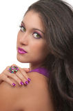 Hair, Make Up and Manicure. Young woman with beautiful, make up, hair and manicure stock photography
