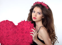 Hair. Makeup. Beautiful Brunette Girl with banner heart. Attract Stock Image