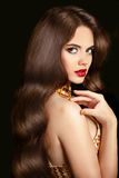 Hair. Makeup. Beautiful brunette girl with long wavy shiny hairs Royalty Free Stock Image