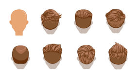 Hair man. Set of men cartoon hairstyles. Brown Hair. Rear view. Collection of fashionable stylish types. Detailed and unique. Vector illustration isolated on Stock Image