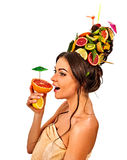 Hair mask from fresh fruits on woman head . Female bare back. Royalty Free Stock Image