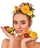 Hair mask from fresh fruits on woman head. Girl with beautiful face. Stock Photos