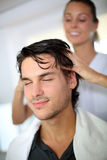 Hair massage Stock Photo
