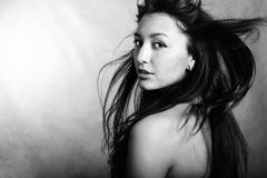 Hair motion. Model portrait. Black-and-white royalty free stock photos