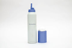 Hair mousse cylinder bottle on isolated Stock Image