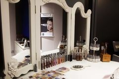 Hair, Nails & Beauty Salon mirror. Hair studio,beauty salon, Hair cuts, styles & colour,Beauty treatments,cosmetic treatments for men and women Stock Image