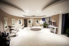Hair, Nails & Beauty Salon. Hair studio,beauty salon, Hair cuts, styles & colour,Beauty treatments,cosmetic treatments for men and women Royalty Free Stock Photography