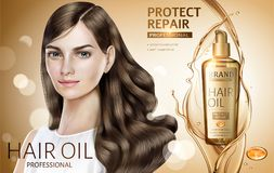 Hair oil ads. Attractive hair model with golden color hair oil products in 3d illustration, bokeh glitter golden color background stock illustration