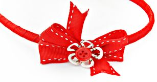 Hair ornament. Red ornament hair clip isolated on white background royalty free stock photo
