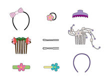 Hair ornaments. Set of hair clips and fasteners Stock Illustration