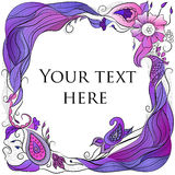 Hair and paisley frame. For postcards, decoration and design Stock Photography