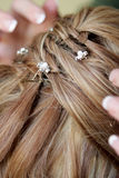Hair Pin. A bride having her hair done for wedding Stock Photos