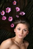Hair pink flowers Stock Photo