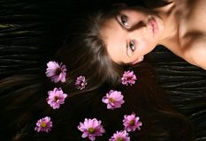 Hair pink flowers Royalty Free Stock Photos