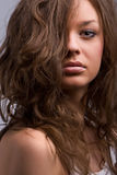Hair portrait. Portrait of beautiful curly hair woman Royalty Free Stock Images