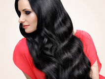 Hair. Portrait of Beautiful Woman with Black Wavy Hair. Royalty Free Stock Photography