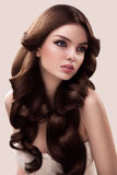 Hair. Portrait of Beautiful Woman with Long Wavy Hair. High qual Royalty Free Stock Photography