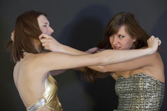 Hair pulling. Two young women pulling each other by the hair Royalty Free Stock Image