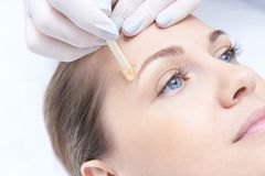 Hair removal. Cosmetic procedure. Beauty and health. Bright skin Stock Photo