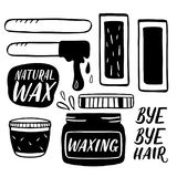Hair removal hand drawn illustration. Waxing vector color illustration. Royalty Free Stock Photos