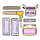 Hair removal hand drawn illustration. Waxing vector color illustration. Royalty Free Stock Photography