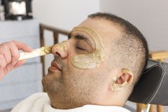 Free Hair Removal. Man`s Face Sugaring Epilation In Turkey Royalty Free Stock Images - 132603669