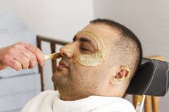 Hair removal. Man`s face sugaring epilation in Turkey. Hair removal. Man`s face sugaring epilations in Turkey stock photos