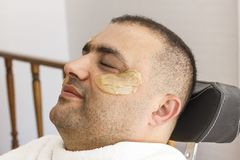Hair removal. Man`s face sugaring epilation in Turkey. Hair removal. Man`s face sugaring epilations in Turkey royalty free stock photo