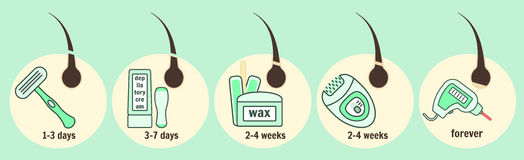 Hair removal methods and growth time infographic royalty free illustration