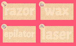 Hair removal razor, wax, epilator and lazer methods symbols. Hairy skin and text on it. Skin care symbol for cosmetology spa, salon Royalty Free Stock Photography