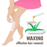 Hair removal. Waxing, wax woman anoints his feet for hair removal Royalty Free Stock Photography