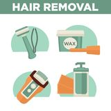 Hair removal woman depilation waxing, shaving sugaring laser procedure vector icons set Stock Photography