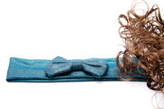Hair ribbon with hair. On white background Royalty Free Stock Photos