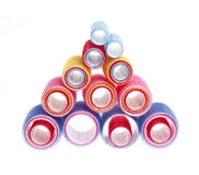 Hair rollers on white Royalty Free Stock Photos