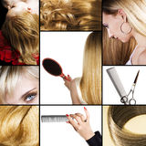 Hair salon. Collage of several photos for beauty industry or hair salon Stock Images