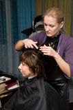 In a hair salon. Hair styling in a beauty salon Royalty Free Stock Image