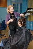 Hair salon. Hair styling in a beauty salon Royalty Free Stock Image