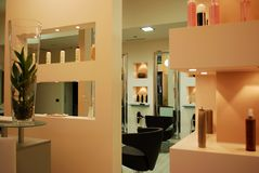 Hair salon. Interior of a modern fashionable beauty salon Stock Photos
