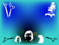 Hair salon. Wallpaper with blue background, scissors, barber chair and various woman hairstyles Stock Photo