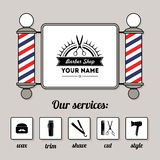 Hair salon barber shop sign and services design template Stock Images