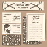 Hair salon barber shop vintage business cards and prices design template set Royalty Free Stock Photos