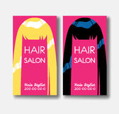 Hair salon business card templates with blonde hair and black ha Royalty Free Stock Photo