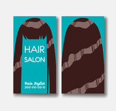 Hair salon business card templates with brown hair on green back Royalty Free Stock Photos
