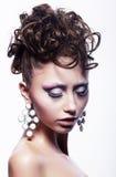 Hair salon concept - festive hairdo. Stylish hairs Royalty Free Stock Photo