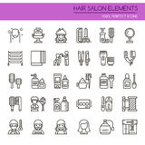 Hair Salon Elements. Thin Line and Pixel Perfect Icons Royalty Free Stock Photo