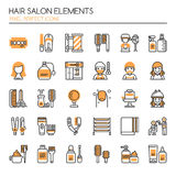 Hair Salon Elements. Thin Line and Pixel Perfect Icons Stock Image