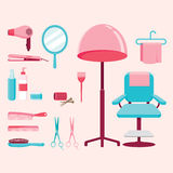 Hair salon equipments set. Hairdressing beauty hair shop accessories objects icons Stock Images